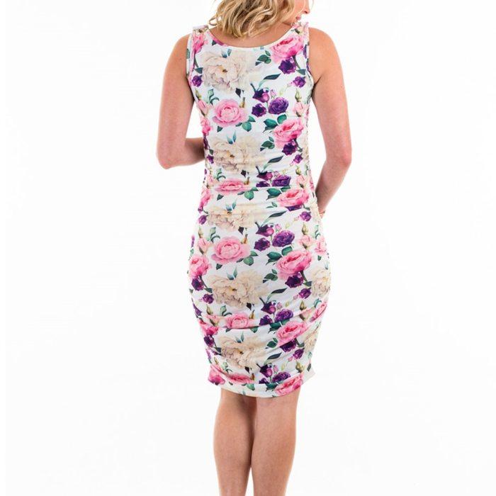 Maternity Nursing Dress Women Bodycon Floral Printed Dress Sleeveless Ruched Knee Length Breastfeeding Dress Plus size xxl