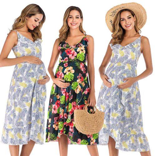 Maternity Dresses Maternity Clothes Elegant Pregnancy Dress Casual Floral Printed Ruffles Falbala Sundress for Pregnant Women