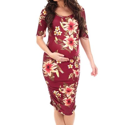 2021 Summer Women Clothes 2pcs Sets Printed Short-Sleeved Round Neck Maternity Dresses Fashion Dress For Pregnant Women