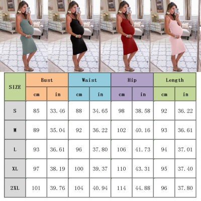 Fashion Pregnant Women Solid Sleeveless Four Colors Bodycon Slim Dress Summer Maternity Pregnancy Clothes