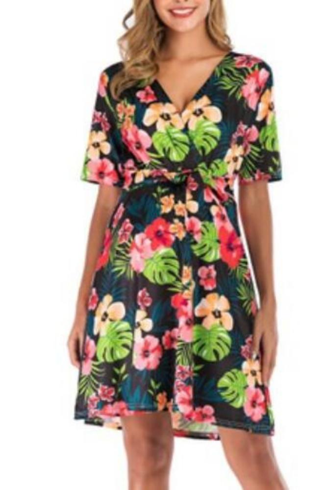 Summer Fashion Pregnancy Clothings Women Deep V-neck Dresses Floral Prints Belt Sash Maternity Beach Pregnant Daily Dress 2021