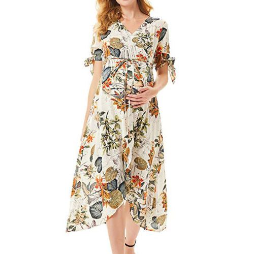 High Waist Summer Pregant Women Fashion V-Neck Floral Print Ruffled Casual Belted Dress