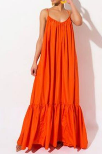 Sexy Sleeveless Solid Color Elegant Long Dress Women Summer Casual Fashion Plus Size Mid Waist Dress 11 Colors Female
