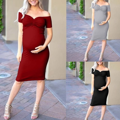 Maternity Pregnancy Clothes designer dress women's Fashion Evening Dresses Off Shoulder Split Bodycon Strapless