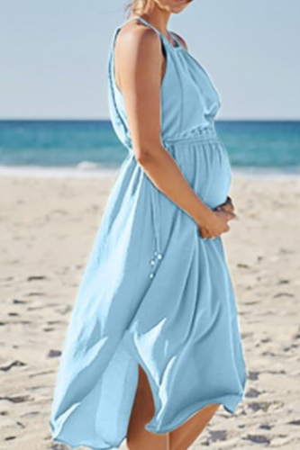 Summer Sleeveless Long Sling Dress for Pregnant Women Beach Dress Chiffon Polyester Simple Color Splicing Drawstring Waistband