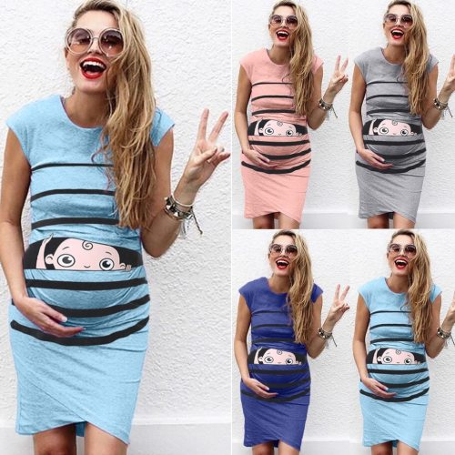 Women's maternity dresses Sleeveless Cartoon Cute Print Dress Pregnanty Casual Dresses clothes for pregnant women