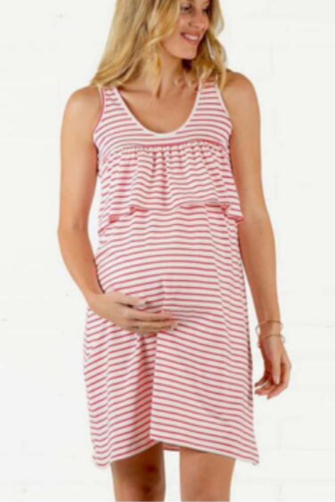 Maternity Dress Round Neck Short Sleeve Colorful Striped Stitching Ruffled  Breastfeeding Dress