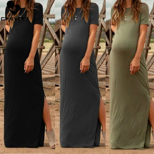 Maternity Dress Women Fashion Pure Color Short Sleeve Pregnancy Casual Splits Long Maxi Maternity Dresses Vertidos
