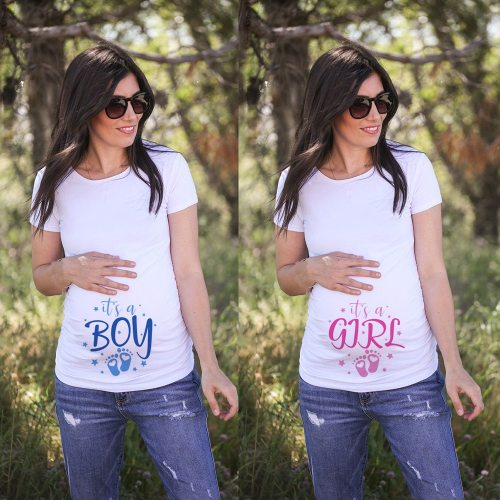 It's A Boy/girl Women Pregnant Anouncement T-Shirts New Mom Materinity Summer Short Sleeve Tshirt Pregnancy Clothes Soft Wear
