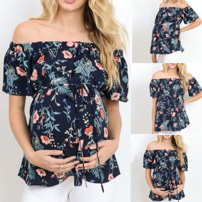 Womens Clothing Plus Size Tees For Pregnant Women's Short Sleeve Tops Breastfeeding Off Shoulder Floral T-Shirt Maternity