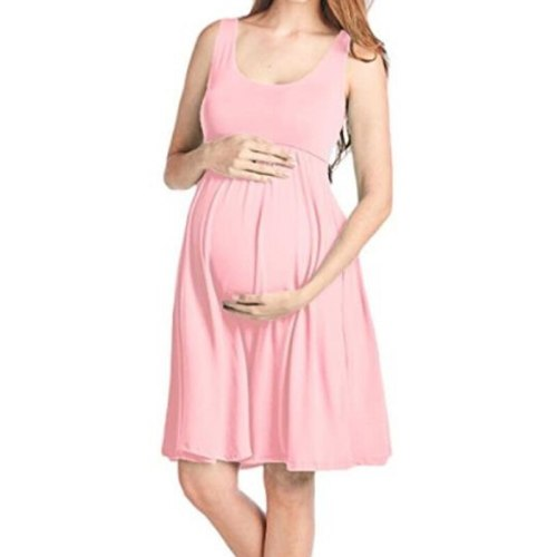 Maternity Dresses Maternity Clothes Pregnancy Dress Casual Sleeveless Maternity Pregnancy Clothes O-Neck Dress