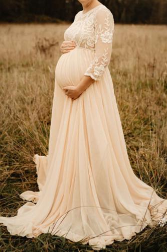 A Line Floral Flower High Waist Pregnant Women Dress Chiffon Lace Dress O Neck Floor Length Fashion Full Sleeve