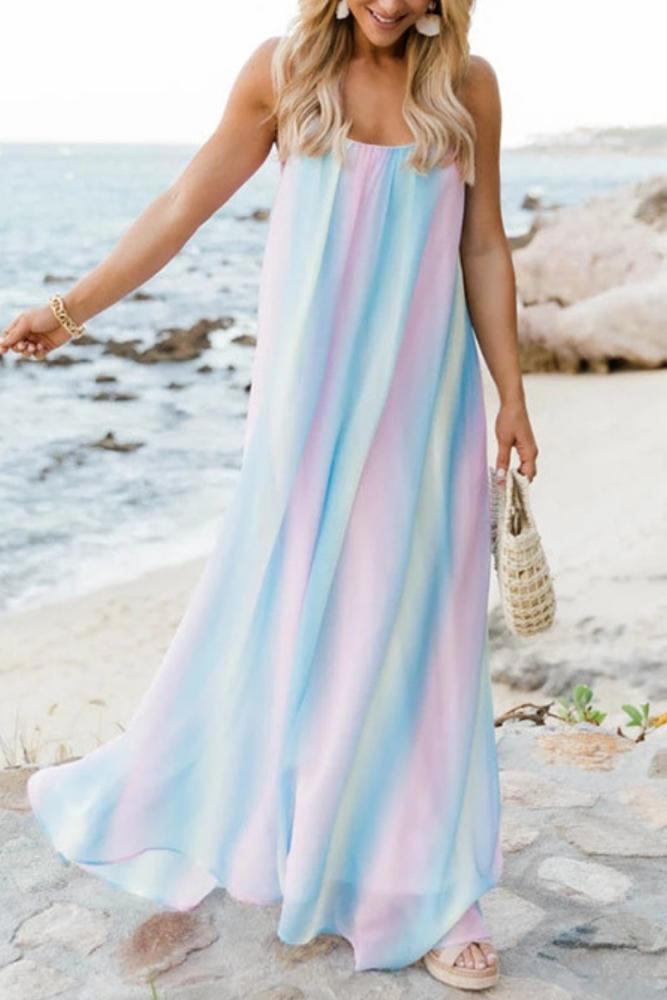 Sexy Spaghetti Straps Womens Dress Sleeveless Maxi Loose Boho Robe Summer Beach Party Style Long  Maternity Dress