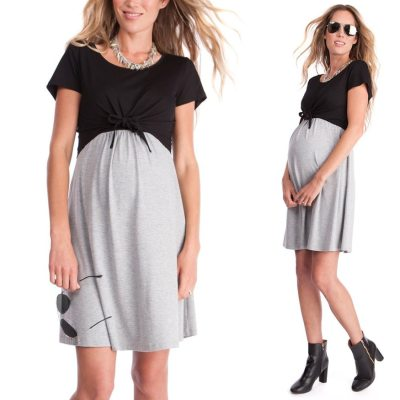 2021 Summer Pregnant Dress Short Sleeve Color Splicing Pregnant Women'S Dress Breastfeeding Tether Care Suit
