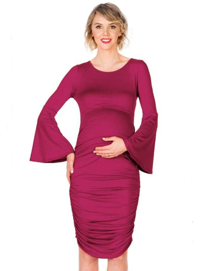 Side Ruched Maternity Plus Size Dress Horn Sleeve Pregnancy Home Clothes Bodycon Dress Mama Casual Wrap Dresses Womens Clothing