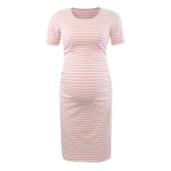 New Stripe Women's Side Ruched Maternity Clothes Bodycon Dress Mama Casual Short Sleeve Wrap Dresses Womens Clothing Plus Size
