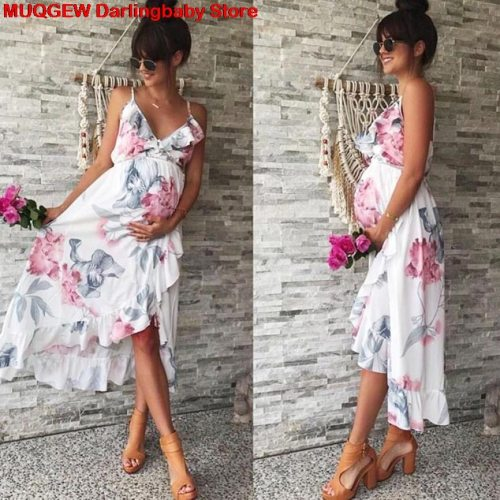 Maternity Dresses Maternity Clothes Pregnancy Dress Pregnant Dress Casual Floral Falbala Pregnants Dress Comfortable Sundress