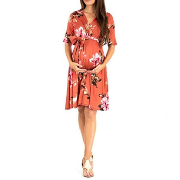 Summer V Neck Pregnancy Dress Photography Dress For Pregnant Women Loose Stretch Maternity Dresses Pregnant Woman Clothes X009