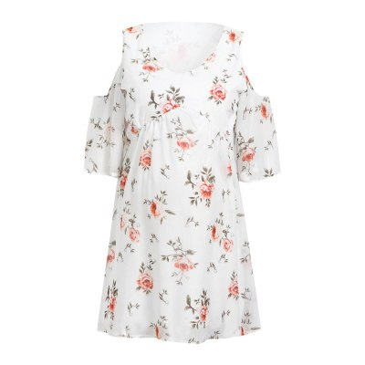 Women's Pregnancy Dress Maternity Beach Sundress Breastfeeding Cut Out Shoulders Floral Mama Summer Casual Pregnancy Dress#520