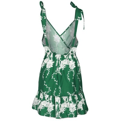 Summer Women Maternity Dress 2021 New Casual A Line Floral Print Sleeveless Lace Up Dress Ladies V Neck Backless Green Mini Dresses