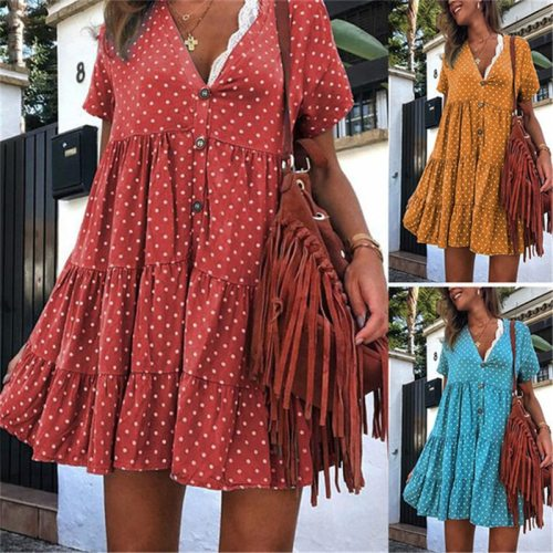 2021 Pregnant Women Dresses Summer Maternity Blouse Dress Sexy Mini Dot Printed Plus Size 3XL Dresses Pregnancy Clothing Vestido