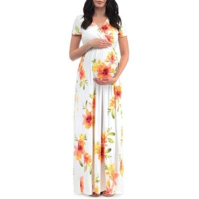 Women's Maternity Dresses Short Sleeve Leaf Print Dress Pregnancy Sundress Women Pregnants Fashion Soft Polyester Dresses S-XL