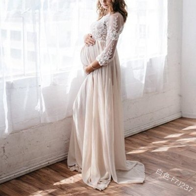 A Line Floral Flower High Waist Pregnant Women Dress Chiffon Lace Dress O Neck Floor Length Fashion Full Sleeve