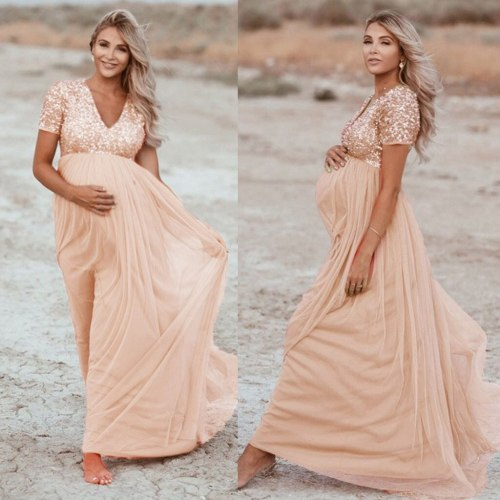 Women Pregnants maternity dresses for photo shoot Soild Color V-neck Photography Props Short Sleeve Sequined pregnancy dress
