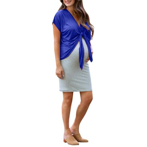 Pregnant Clothes 2PCS Women Loose Short Sleeve Bandage Tops+Dress Set Maternity Solid Gown Beach Casul Pregnancy Clothes