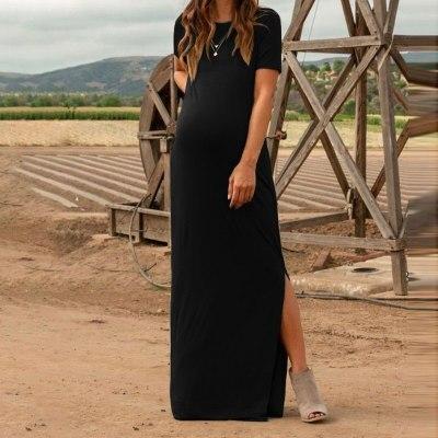 Maternity Dress Women Fashion Pure Color Short Sleeve Pregnancy Casual Splits Long Maxi Maternity Dresses Vertidos