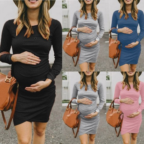 Round Neck Long Sleeve Maternity Dress Photography Prop Photo Shoot Mother Dress Warm Clothing Maternity Dresses
