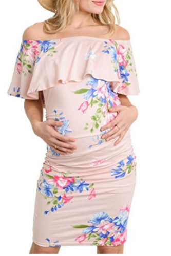 Maternity Dresses Off Shoulder Pregnancy Dresses Floral Women Dress Summer Pregnant Dress For Pregnant Women