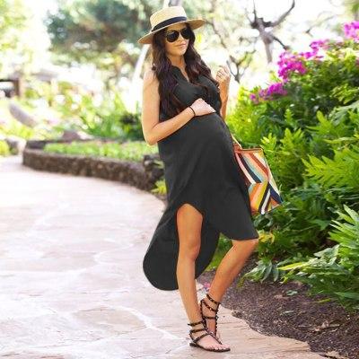 Women's Maternity Dresses Pregnant Women Office Casual Clothes Lady's Summer Female Plus Size Pregnancy Dress Graduation