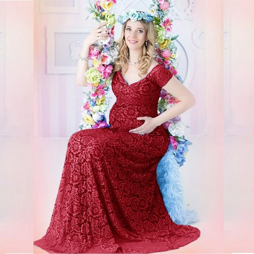 New Sexy Maternity Dresses Baby Shower Lace Fancy Pregnancy Dress Photo Shoot Long Pregnant Women Maxi Gown For Photography Prop