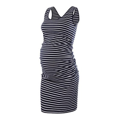 O-Neck Maternity Dress Breathable Ajustable Belly Clothes for Pregnancy Women Stripes Pure Color Pregnant Tops Sleeveless Summer
