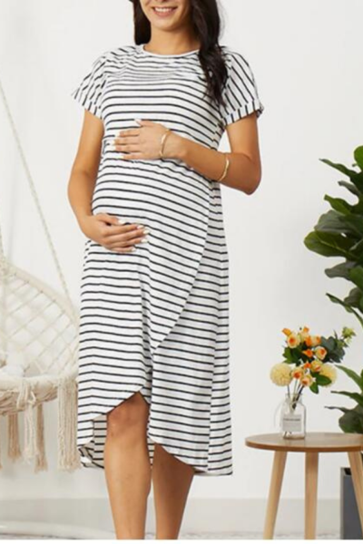 2021 New Arrival Summer Casual Striped Short-sleeve Nursing Dress for Woman
