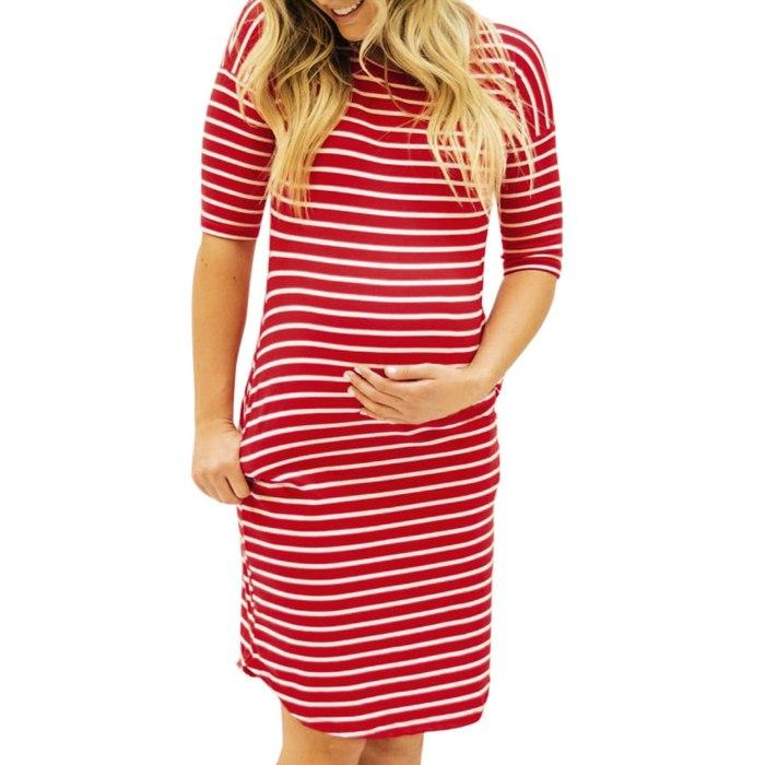 Women's Maternity Dresses Pregnant Half Sleeve Stripe Print Ladies Slim Dress  Mother Summer Casual Maternity Clothes