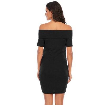 New maternity Dress Solid Color One-Shoulder Short-Sleeved Dress Maternity Dress