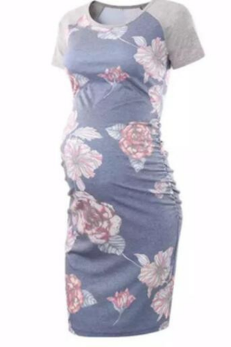 Maternity Women Dress short sleeve Printed maternity dress Flattering Side Ruching Scoop Neck Pregnant Womens