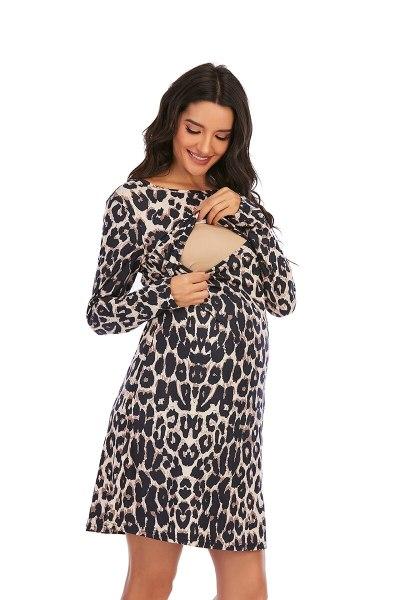 2021 Spring Leopard Maternity Nursing Dress  Charming A Line Slim Breastfeeding Clothes For Pregnant Women Feeding Pregnancy