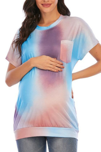 Pregnancy Shirt Maternity Tie-dye Print O-neck Short Sleeve T-shirt Pregnant Tops Loose Clothing Pregnant Women T-shirts Clothes