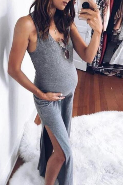 Maternity dresses Women Sleeveless Solid color Pregnant clothes Props sexy Bodycon Casual Long Dress 2020 new Drop Ship