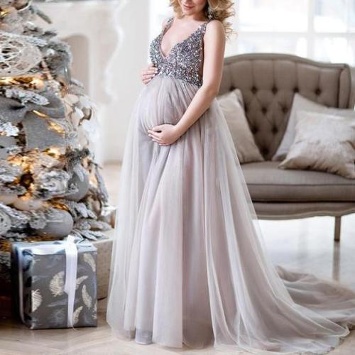 Sexy Maternity Shoot Dress Sequins Tulle Pregnancy Photography Dresses Sleeveless Maxi Gown For Pregnant Women Long Photo Prop