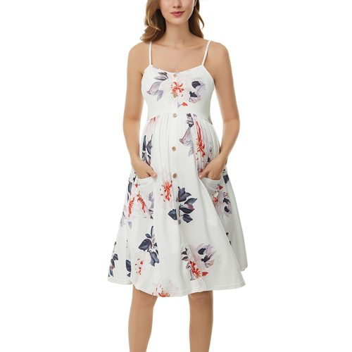Women Floral summer Sleeveless Dresses Maternity Dress Casual Button Down Midi Dress with Pockets Pregnancy Spaghetti Dresses