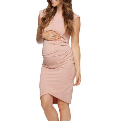 Women's Side Ruched Maternity Clothes Bodycon Dress Mama Casual Short Sleeve Wrap Dresses Womens Clothing Plus Size