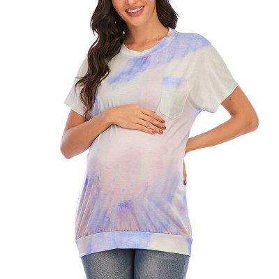 Pregnancy Shirt Maternity Tie-dye Print O-neck Short Sleeve T-shirt Pregnant Tops Loose Clothing Pregnant Women T-shirts Clothes