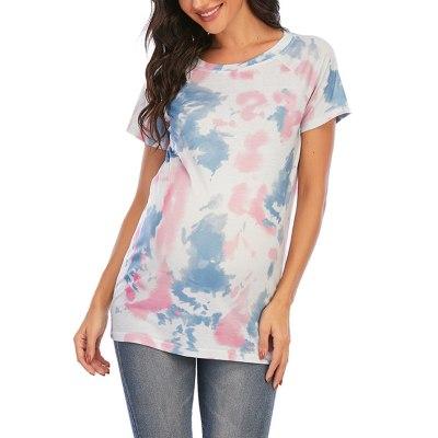 Women Tshirt Maternity Pregnancy Nursing Clothes T-shirt Tie-dye Tops Casual Pregnancy Clothes T Shirt Grossesse Nursing Tops