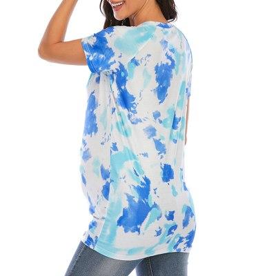 Women Maternity Pregnancy T-shirt Tie-dye Tops Casual Clothes Summer Cartoon Print Maternity Clothing Soft Pregnancy Tees L3