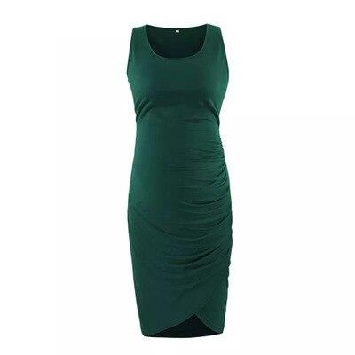New Fashion Cool Women Beautiful Big Belly Summer Hot Sale Round Neck Bag Hip Irregular Sleeveless Pregnant Women Dress