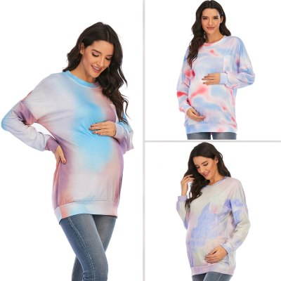 6139# European Style Digital Printing Maternity Tees Spring Long Sleeve Casual T-shirt for Pregnant Women Pregnancy Shirt Tops